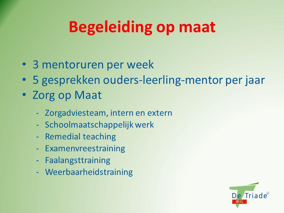Begeleiding op maat • 3 mentoruren per week • 5 gesprekken ouders-leerling-mentor per jaar • Zorg op Maat -Zorgadviesteam, intern en extern -Schoolmaa