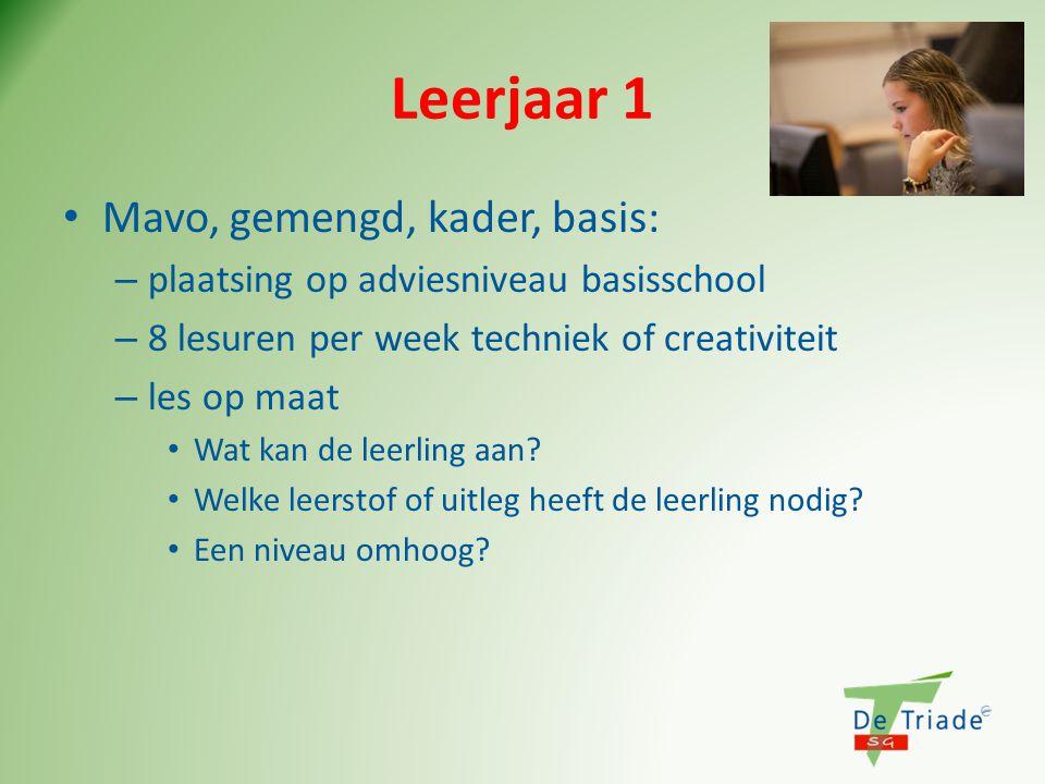Leerjaar 1 • Mavo, gemengd, kader, basis: – plaatsing op adviesniveau basisschool – 8 lesuren per week techniek of creativiteit – les op maat • Wat ka