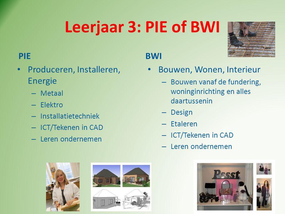 Leerjaar 3: PIE of BWI PIE • Produceren, Installeren, Energie – Metaal – Elektro – Installatietechniek – ICT/Tekenen in CAD – Leren ondernemen BWI • B
