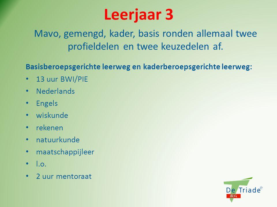 Leerjaar 3 Basisberoepsgerichte leerweg en kaderberoepsgerichte leerweg: • 13 uur BWI/PIE • Nederlands • Engels • wiskunde • rekenen • natuurkunde • m