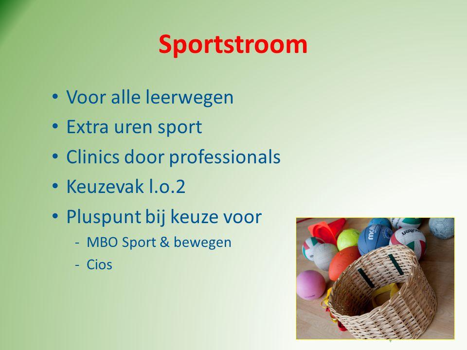 Sportstroom • Voor alle leerwegen • Extra uren sport • Clinics door professionals • Keuzevak l.o.2 • Pluspunt bij keuze voor -MBO Sport & bewegen -Cio