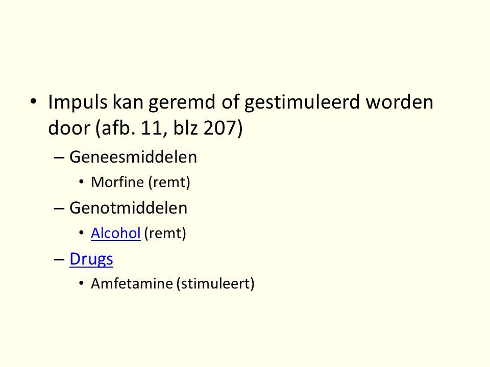 • Impuls kan geremd of gestimuleerd worden door (afb. 11, blz 207) – Geneesmiddelen • Morfine (remt) – Genotmiddelen • Alcohol (remt) Alcohol – Drugs