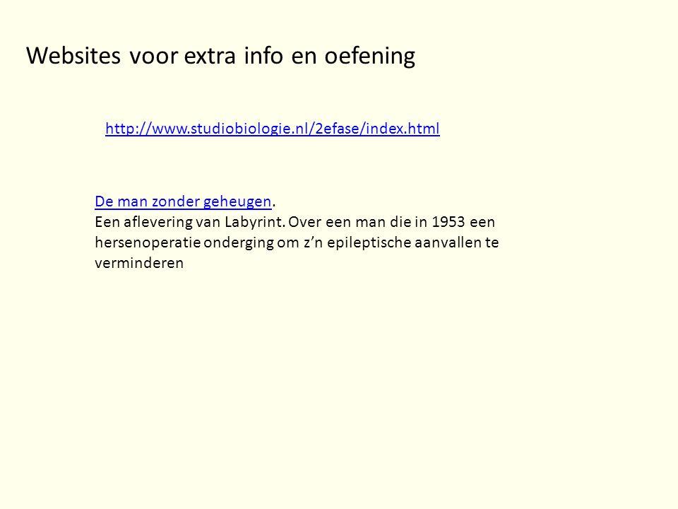 http://www.studiobiologie.nl/2efase/index.html Websites voor extra info en oefening De man zonder geheugenDe man zonder geheugen. Een aflevering van L