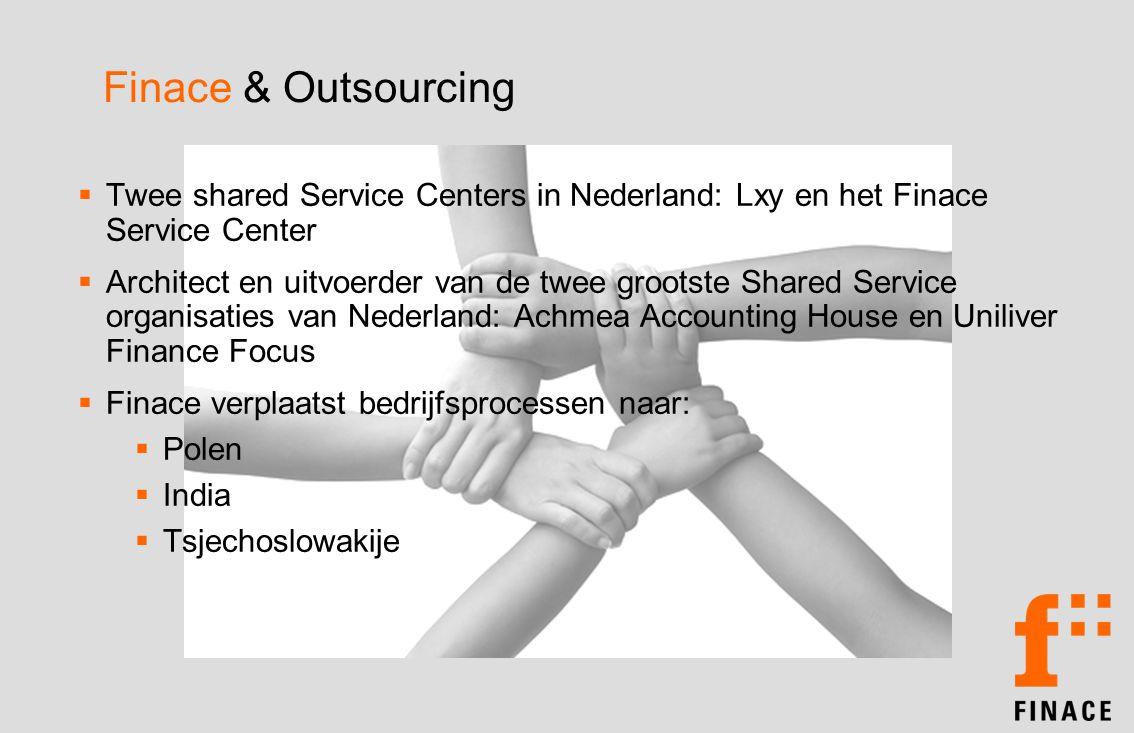 Finace & Outsourcing  Twee shared Service Centers in Nederland: Lxy en het Finace Service Center  Architect en uitvoerder van de twee grootste Shared Service organisaties van Nederland: Achmea Accounting House en Uniliver Finance Focus  Finace verplaatst bedrijfsprocessen naar:  Polen  India  Tsjechoslowakije