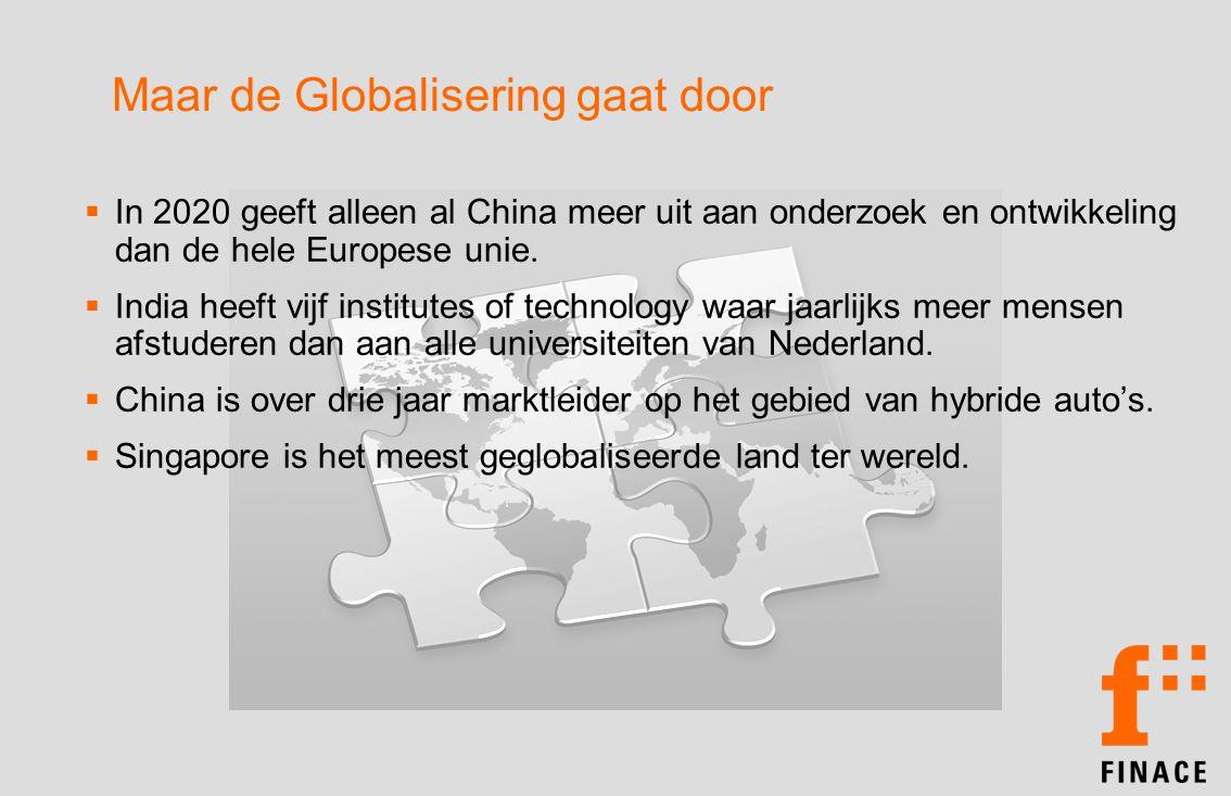 Maar de Globalisering gaat door  In 2020 geeft alleen al China meer uit aan onderzoek en ontwikkeling dan de hele Europese unie.