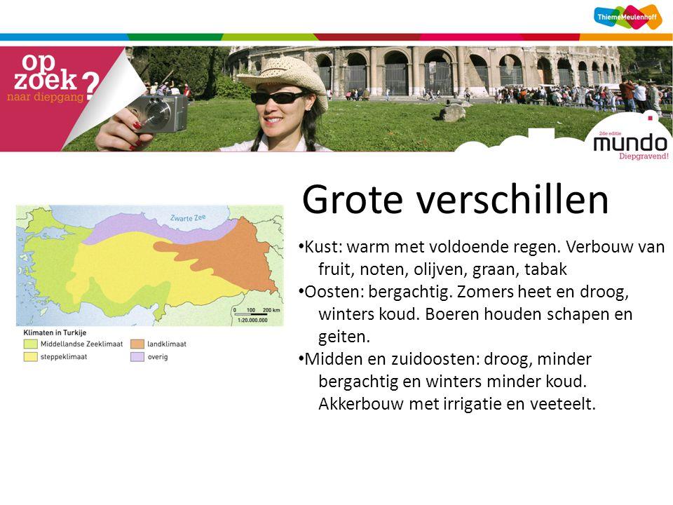 Grote verschillen [kaart uit ddk, blok 3, Een land met grote verschillen (2) ] • Kust: warm met voldoende regen.