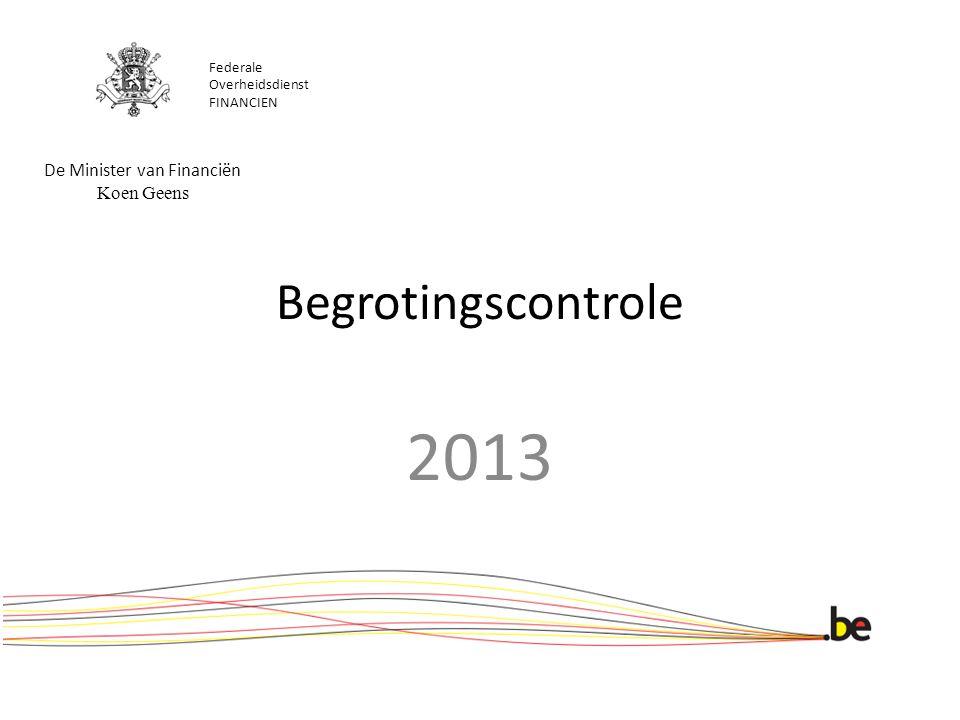 Begrotingscontrole 2013 Federale Overheidsdienst FINANCIEN De Minister van Financiën Koen Geens