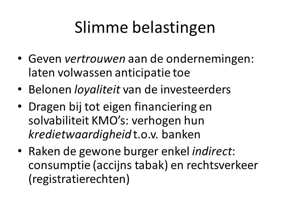 Slimme belastingen • Geven vertrouwen aan de ondernemingen: laten volwassen anticipatie toe • Belonen loyaliteit van de investeerders • Dragen bij tot