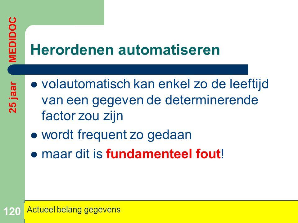Herordenen automatiseren  volautomatisch kan enkel zo de leeftijd van een gegeven de determinerende factor zou zijn  wordt frequent zo gedaan  maar