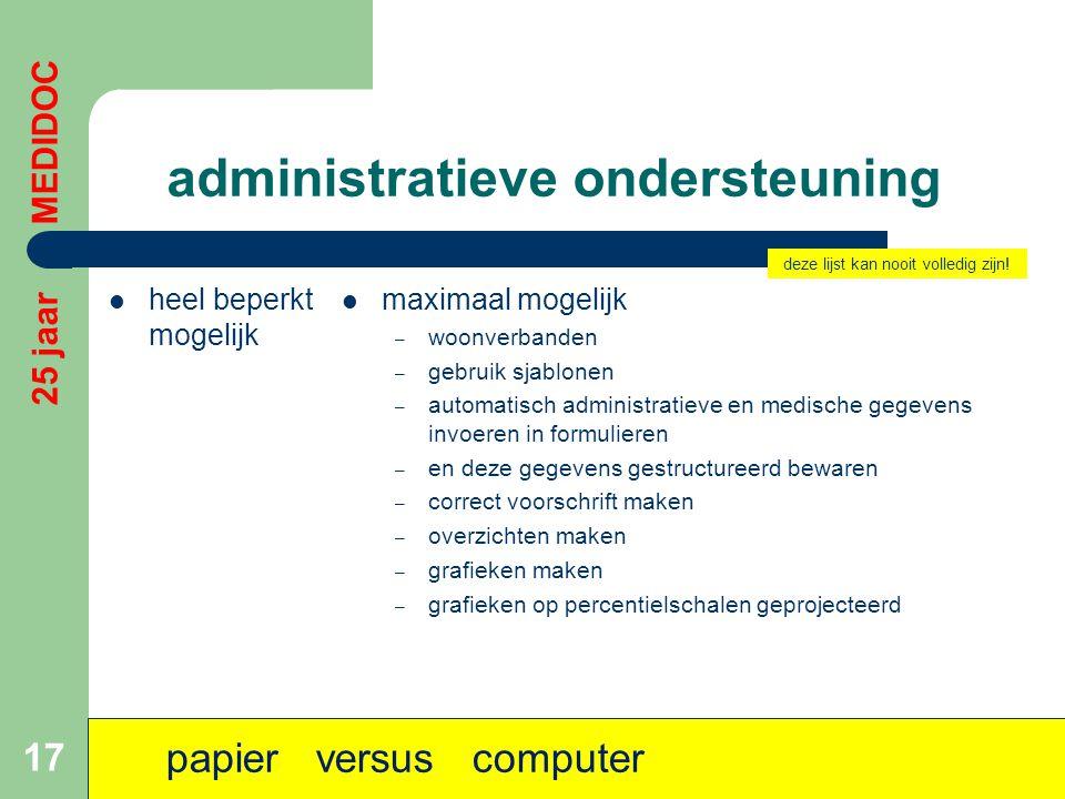 administratieve ondersteuning  heel beperkt mogelijk  maximaal mogelijk – woonverbanden – gebruik sjablonen – automatisch administratieve en medisch