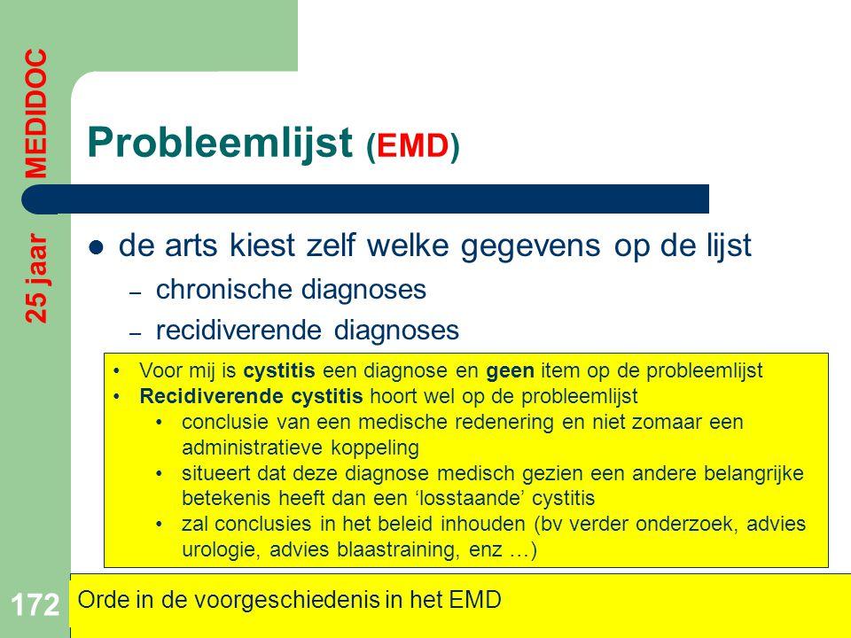 Probleemlijst (EMD)  de arts kiest zelf welke gegevens op de lijst – chronische diagnoses – recidiverende diagnoses 172 Orde in de voorgeschiedenis i