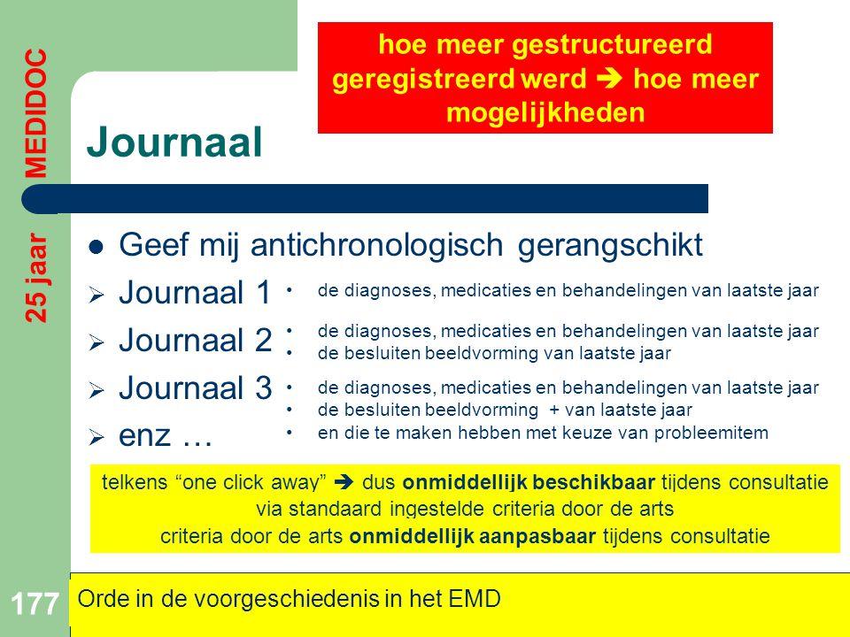 Journaal  Geef mij antichronologisch gerangschikt  Journaal 1  Journaal 2  Journaal 3  enz … 177 Orde in de voorgeschiedenis in het EMD 25 jaar M