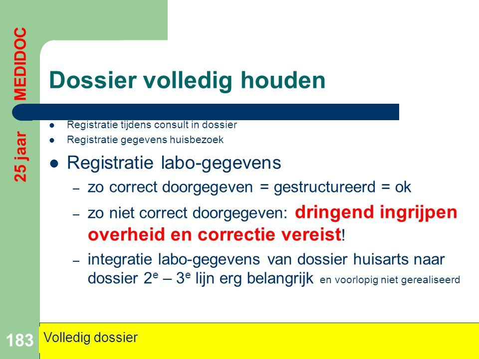 Dossier volledig houden  Registratie tijdens consult in dossier  Registratie gegevens huisbezoek  Registratie labo-gegevens – zo correct doorgegeve