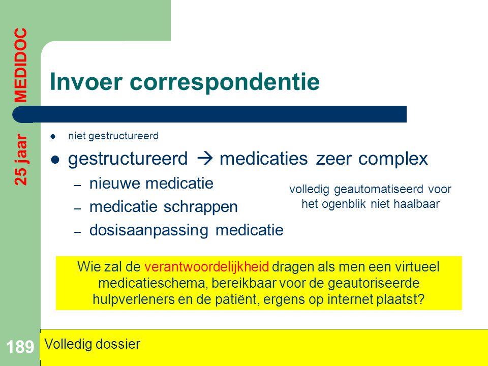 Invoer correspondentie  niet gestructureerd  gestructureerd  medicaties zeer complex – nieuwe medicatie – medicatie schrappen – dosisaanpassing med