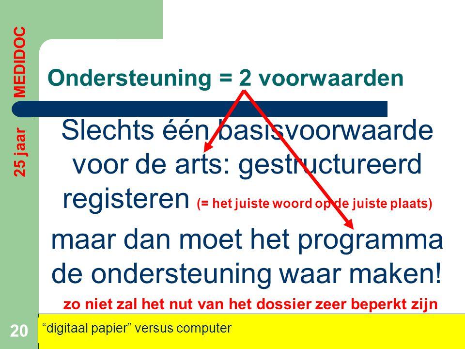 Ondersteuning = 2 voorwaarden Slechts één basisvoorwaarde voor de arts: gestructureerd registeren (= het juiste woord op de juiste plaats) maar dan mo