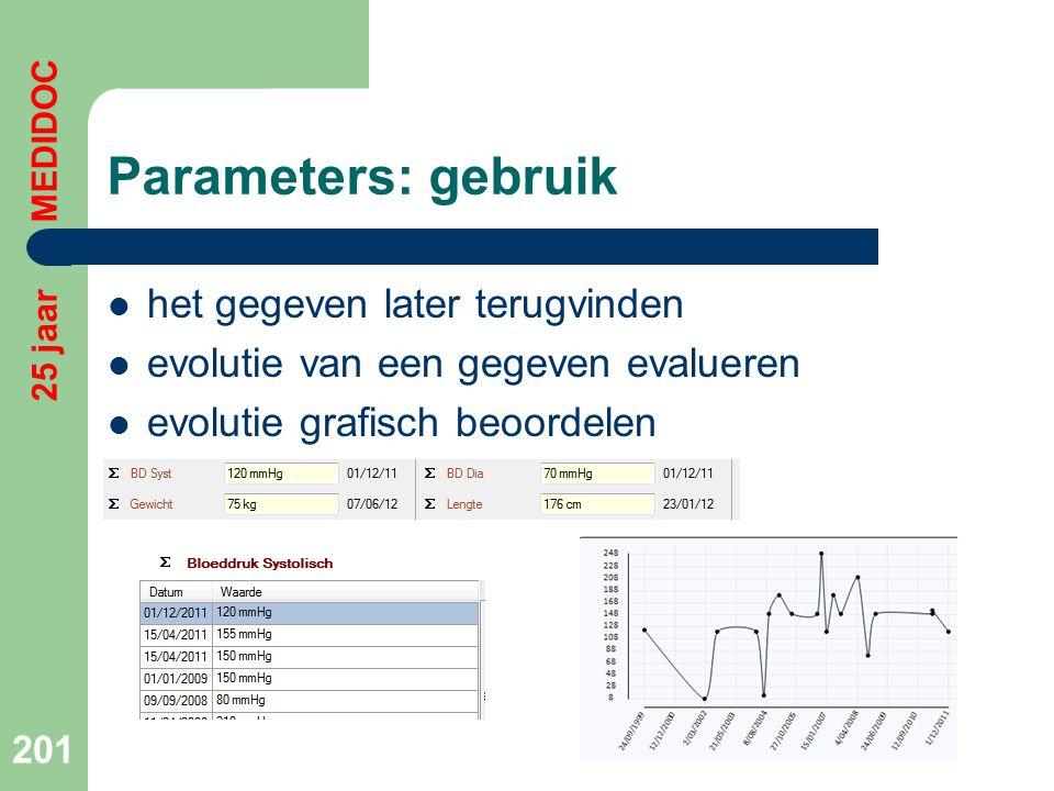 Parameters: gebruik  het gegeven later terugvinden  evolutie van een gegeven evalueren  evolutie grafisch beoordelen 201 25 jaar MEDIDOC