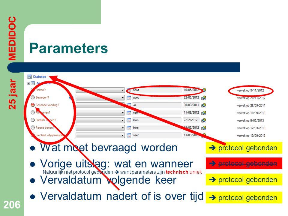 Parameters  Wat moet bevraagd worden  Vorige uitslag: wat en wanneer  Vervaldatum volgende keer  Vervaldatum nadert of is over tijd 206 25 jaar ME