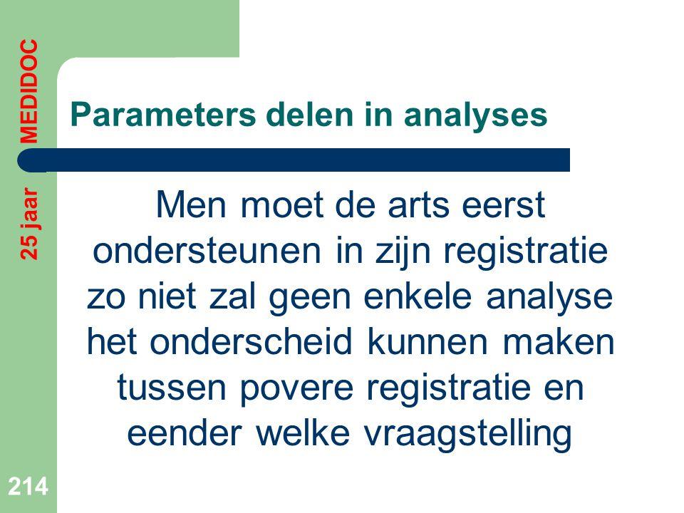 Parameters delen in analyses Men moet de arts eerst ondersteunen in zijn registratie zo niet zal geen enkele analyse het onderscheid kunnen maken tuss