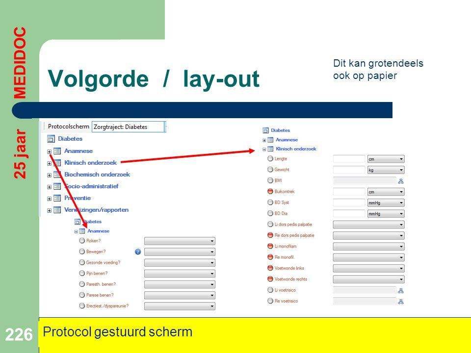Volgorde / lay-out 226 25 jaar MEDIDOC Protocol gestuurd scherm Dit kan grotendeels ook op papier