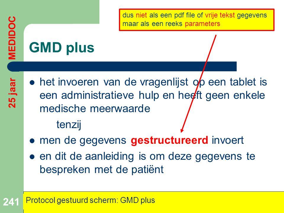 GMD plus  het invoeren van de vragenlijst op een tablet is een administratieve hulp en heeft geen enkele medische meerwaarde tenzij  men de gegevens