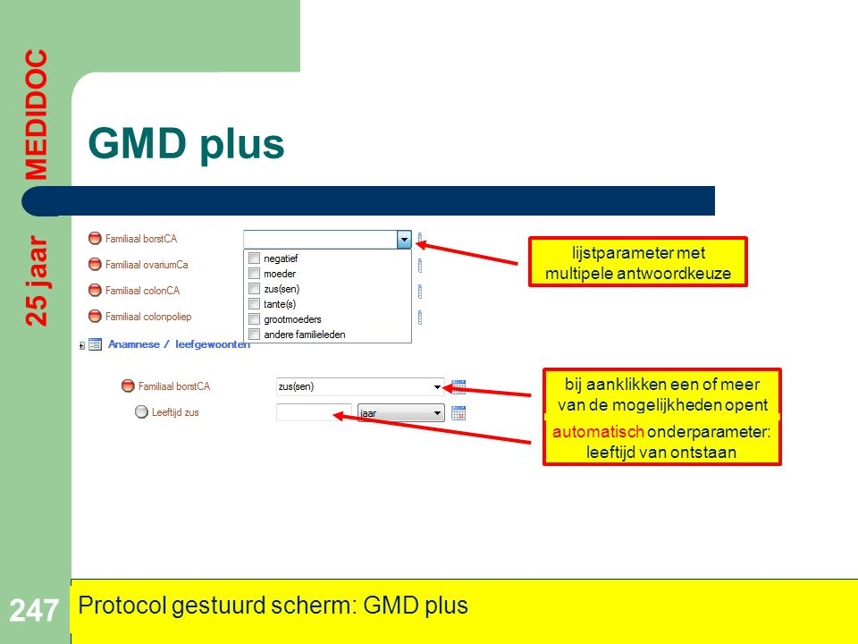 GMD plus 247 25 jaar MEDIDOC Protocol gestuurd scherm: GMD plus bij aanklikken een of meer van de mogelijkheden opent automatisch onderparameter: leef