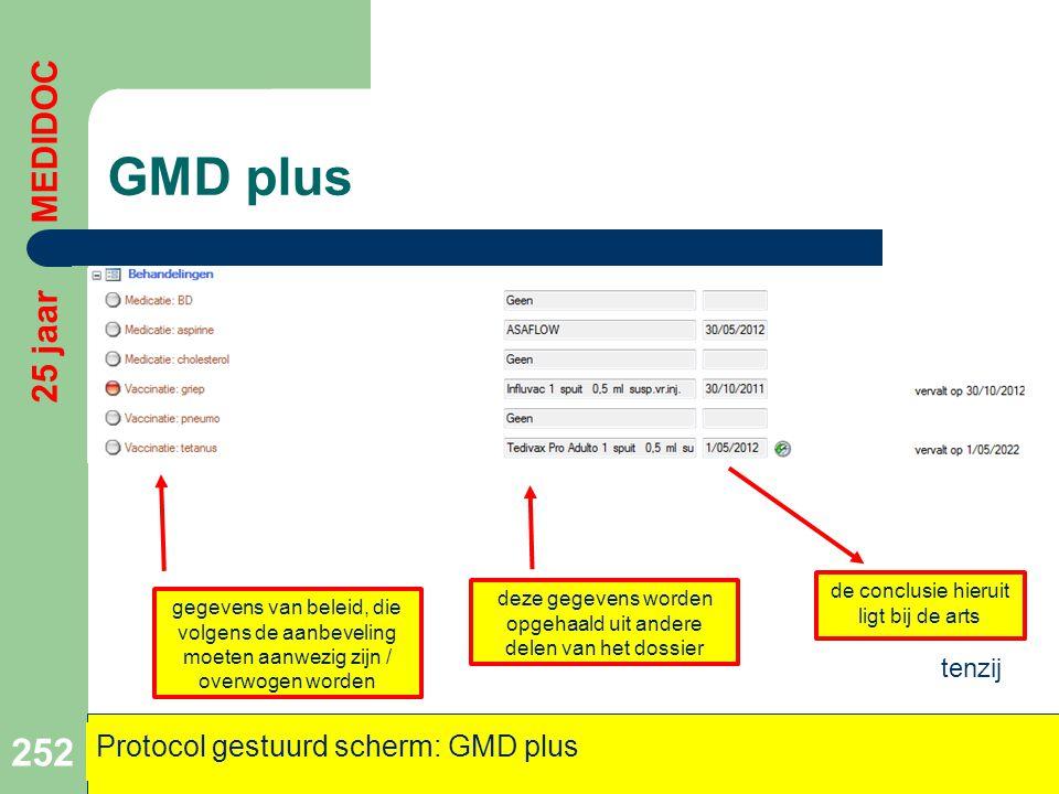 GMD plus 252 25 jaar MEDIDOC Protocol gestuurd scherm: GMD plus gegevens van beleid, die volgens de aanbeveling moeten aanwezig zijn / overwogen worde