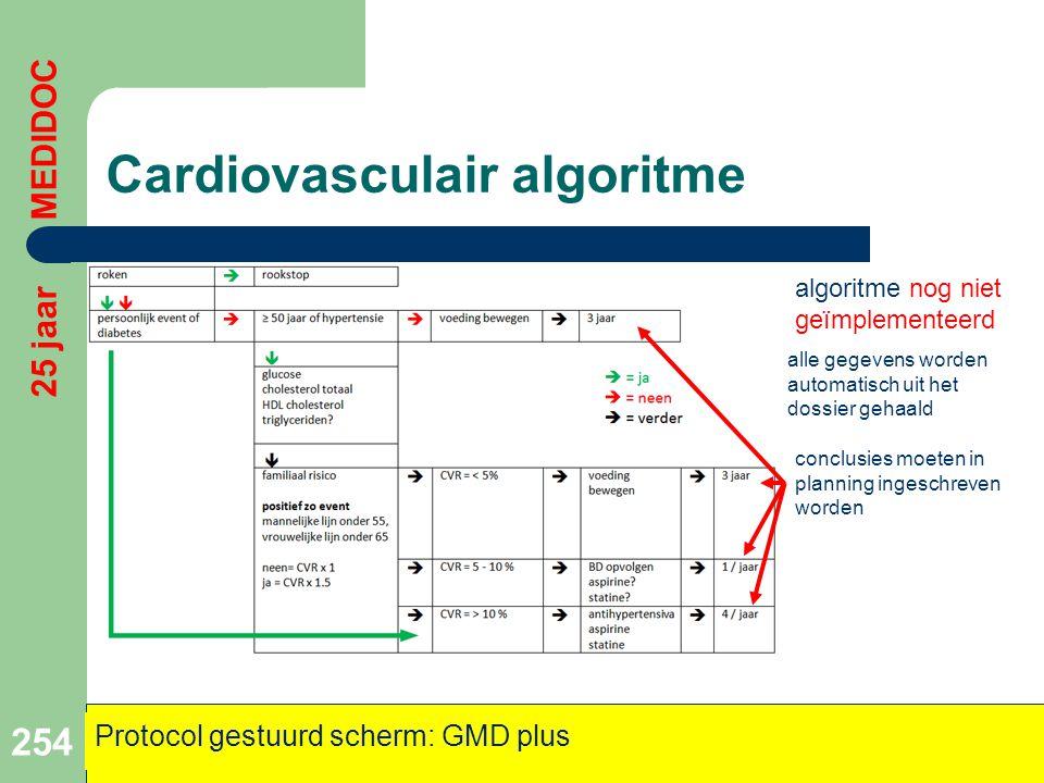Cardiovasculair algoritme 254 25 jaar MEDIDOC Protocol gestuurd scherm: GMD plus algoritme nog niet geïmplementeerd alle gegevens worden automatisch u