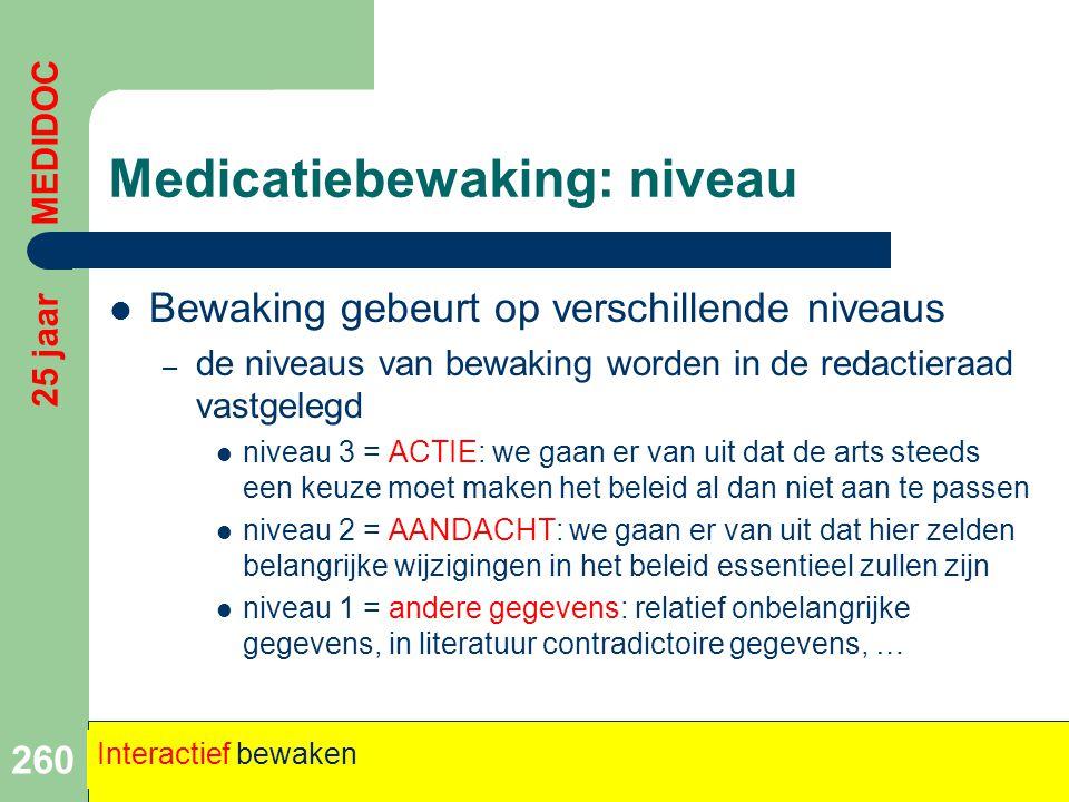 Medicatiebewaking: niveau  Bewaking gebeurt op verschillende niveaus – de niveaus van bewaking worden in de redactieraad vastgelegd  niveau 3 = ACTI