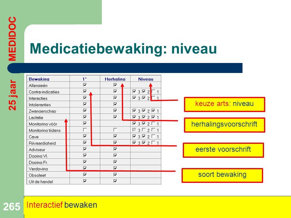Medicatiebewaking: niveau 265 25 jaar MEDIDOC Interactief bewaken eerste voorschrift soort bewaking herhalingsvoorschrift keuze arts: niveau