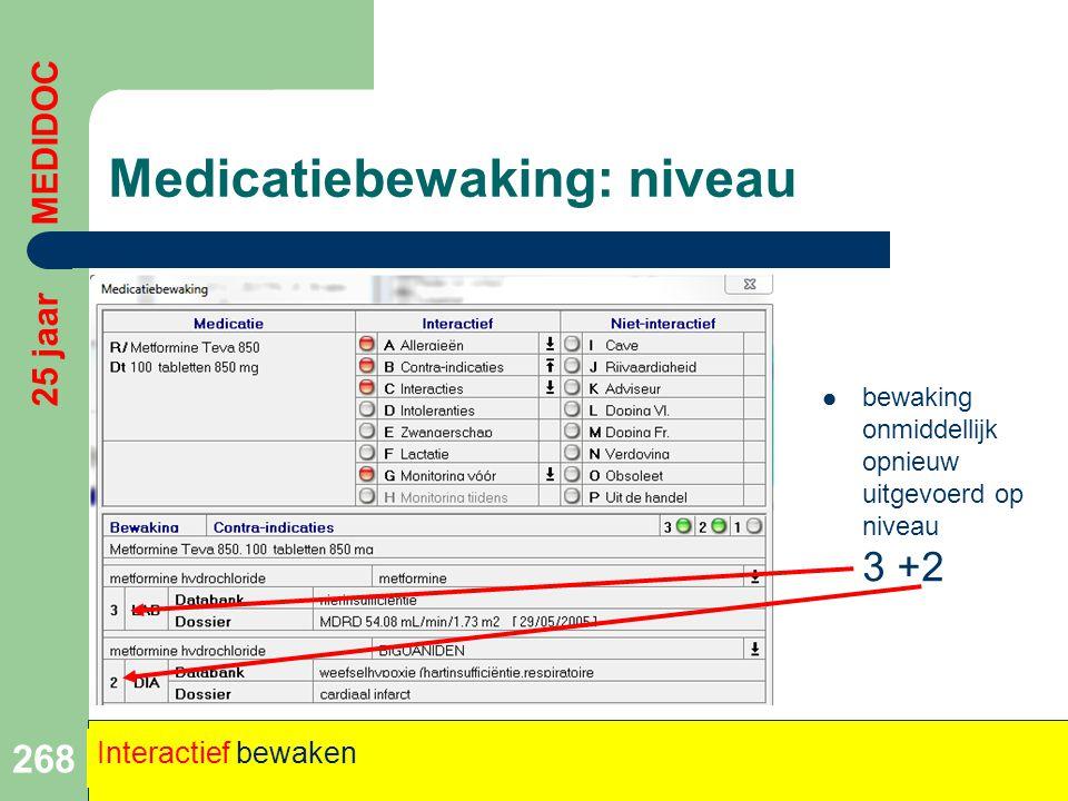 Medicatiebewaking: niveau 268 25 jaar MEDIDOC Interactief bewaken  bewaking onmiddellijk opnieuw uitgevoerd op niveau 3 +2