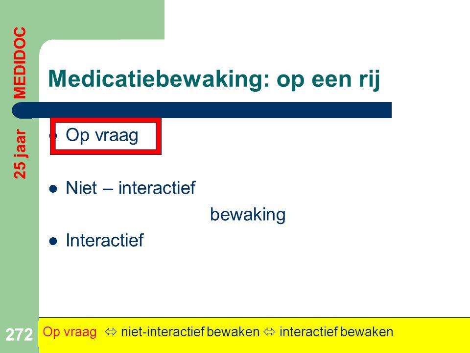 Medicatiebewaking: op een rij  Op vraag  Niet – interactief bewaking  Interactief 272 Op vraag  niet-interactief bewaken  interactief bewaken 25