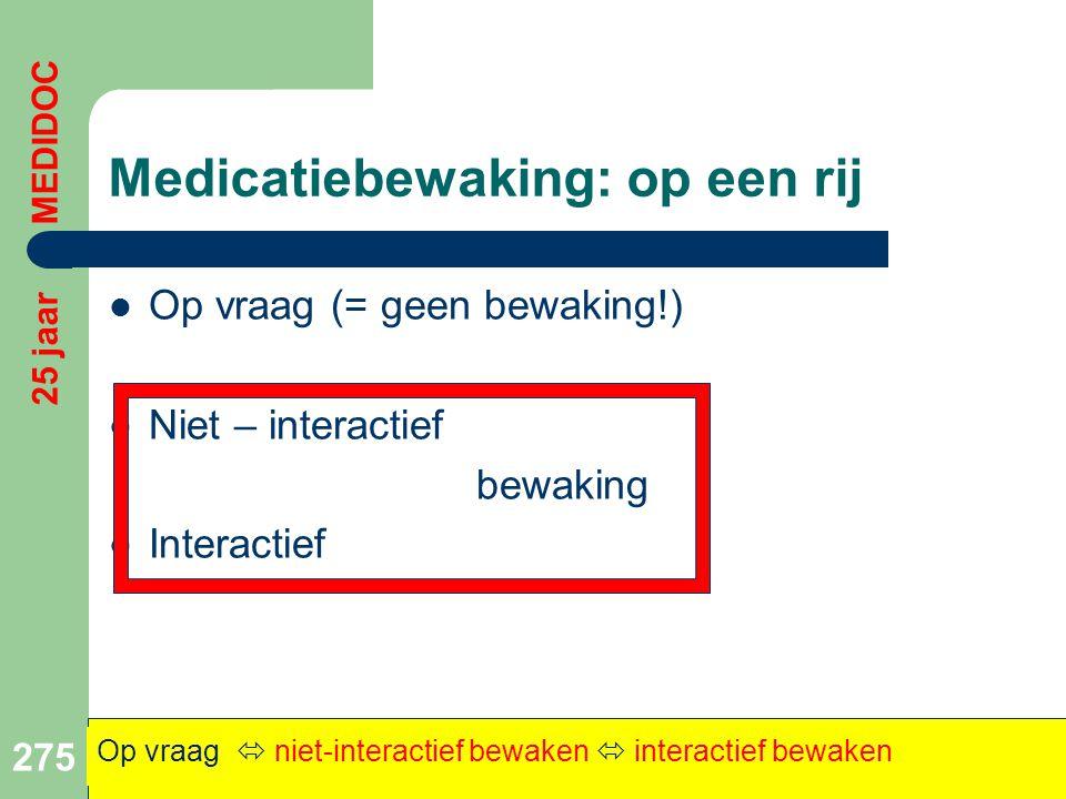 Medicatiebewaking: op een rij  Op vraag (= geen bewaking!)  Niet – interactief bewaking  Interactief 275 Op vraag  niet-interactief bewaken  inte