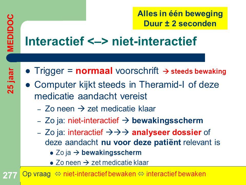 Interactief niet-interactief  Trigger = normaal voorschrift  steeds bewaking  Computer kijkt steeds in Theramid-I of deze medicatie aandacht vereis
