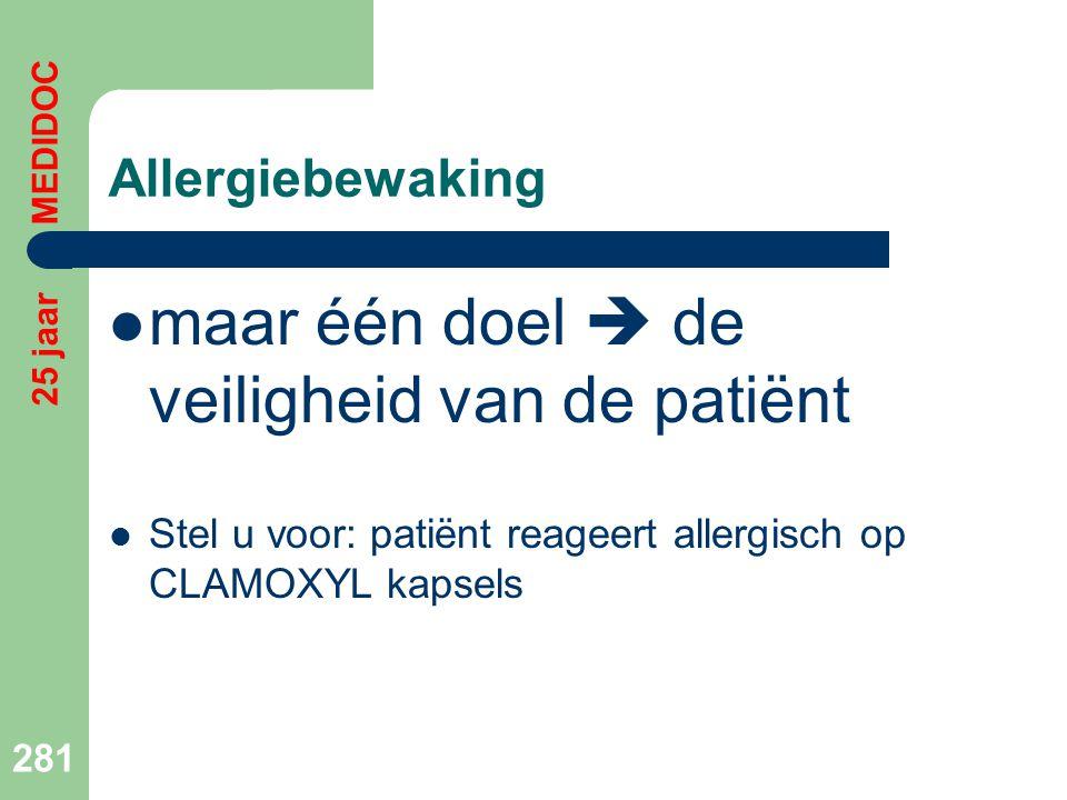 Allergiebewaking  maar één doel  de veiligheid van de patiënt  Stel u voor: patiënt reageert allergisch op CLAMOXYL kapsels 281 25 jaar MEDIDOC