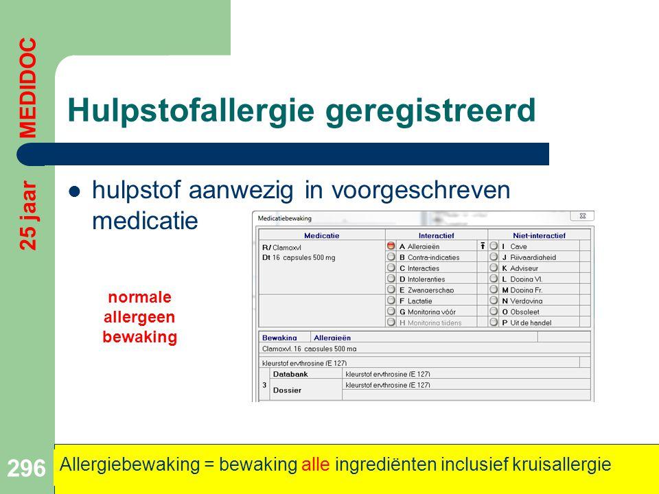 Hulpstofallergie geregistreerd  hulpstof aanwezig in voorgeschreven medicatie 296 25 jaar MEDIDOC Allergiebewaking = bewaking alle ingrediënten inclu