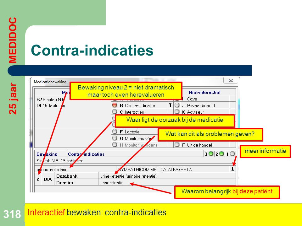 Contra-indicaties 318 25 jaar MEDIDOC Interactief bewaken: contra-indicaties Bewaking niveau 2 = niet dramatisch maar toch even herevalueren Waar ligt