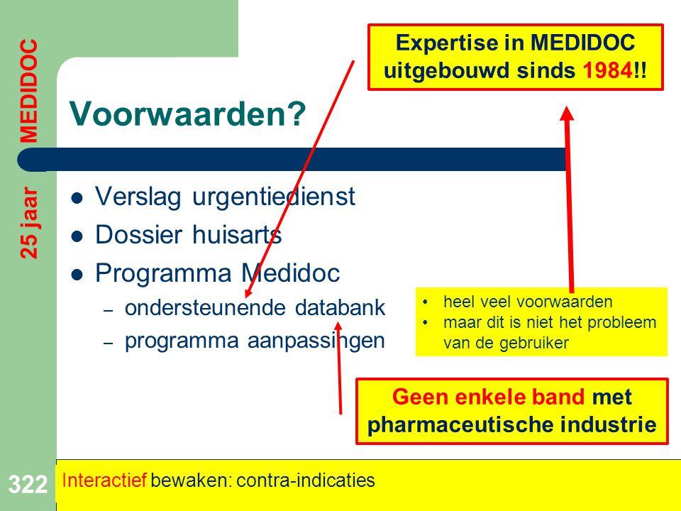 Voorwaarden?  Verslag urgentiedienst  Dossier huisarts  Programma Medidoc – ondersteunende databank – programma aanpassingen 322 25 jaar MEDIDOC In