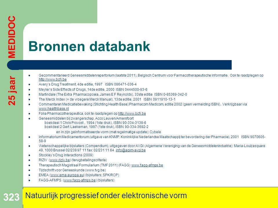 Bronnen databank  Gecommentarieerd Geneesmiddelenrepertorium (laatste 2011), Belgisch Centrum voor Farmacotherapeutische Informatie. Ook te raadplege