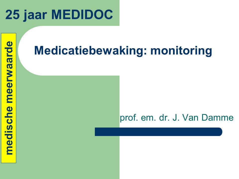 Medicatiebewaking: monitoring prof. em. dr. J. Van Damme 25 jaar MEDIDOC medische meerwaarde