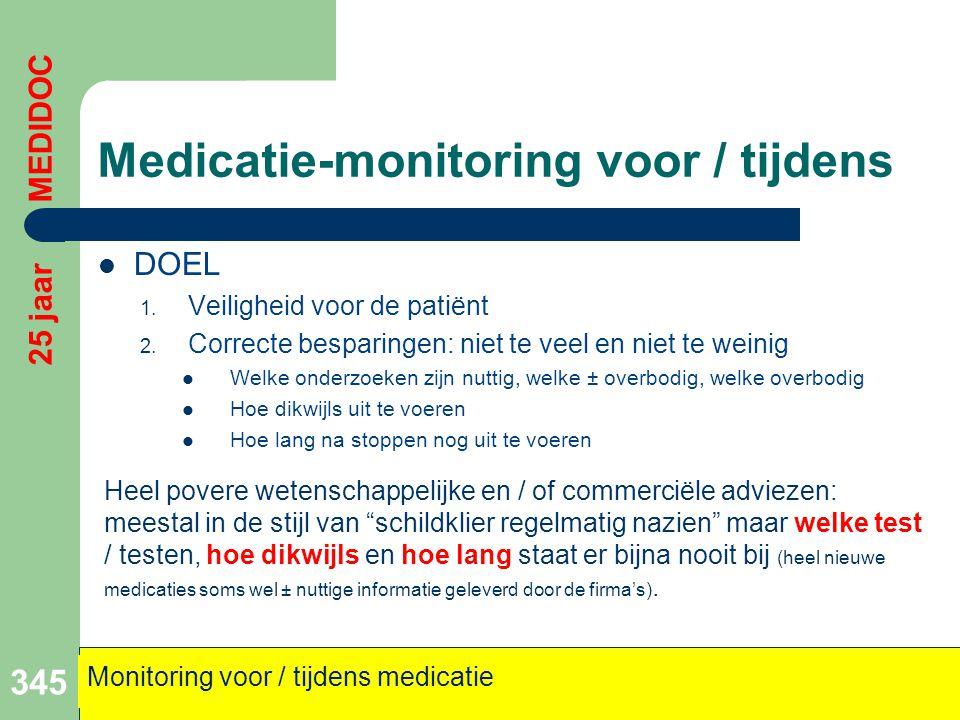Medicatie-monitoring voor / tijdens  DOEL 1. Veiligheid voor de patiënt 2. Correcte besparingen: niet te veel en niet te weinig  Welke onderzoeken z
