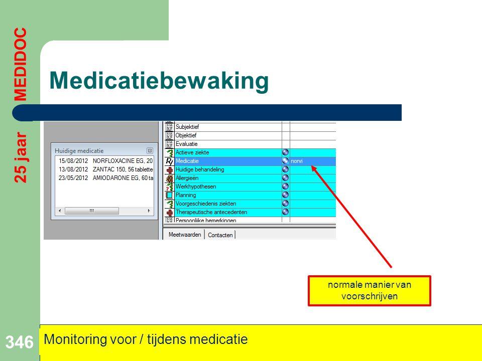 Medicatiebewaking 346 25 jaar MEDIDOC Monitoring voor / tijdens medicatie normale manier van voorschrijven