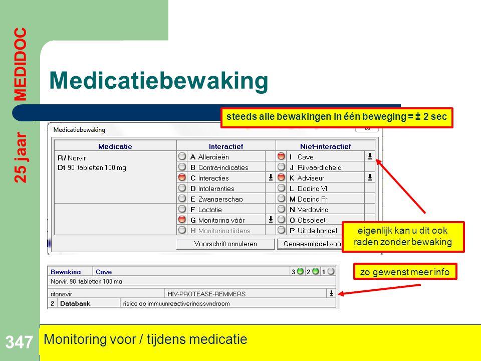 Medicatiebewaking 347 25 jaar MEDIDOC Monitoring voor / tijdens medicatie eigenlijk kan u dit ook raden zonder bewaking zo gewenst meer info steeds al