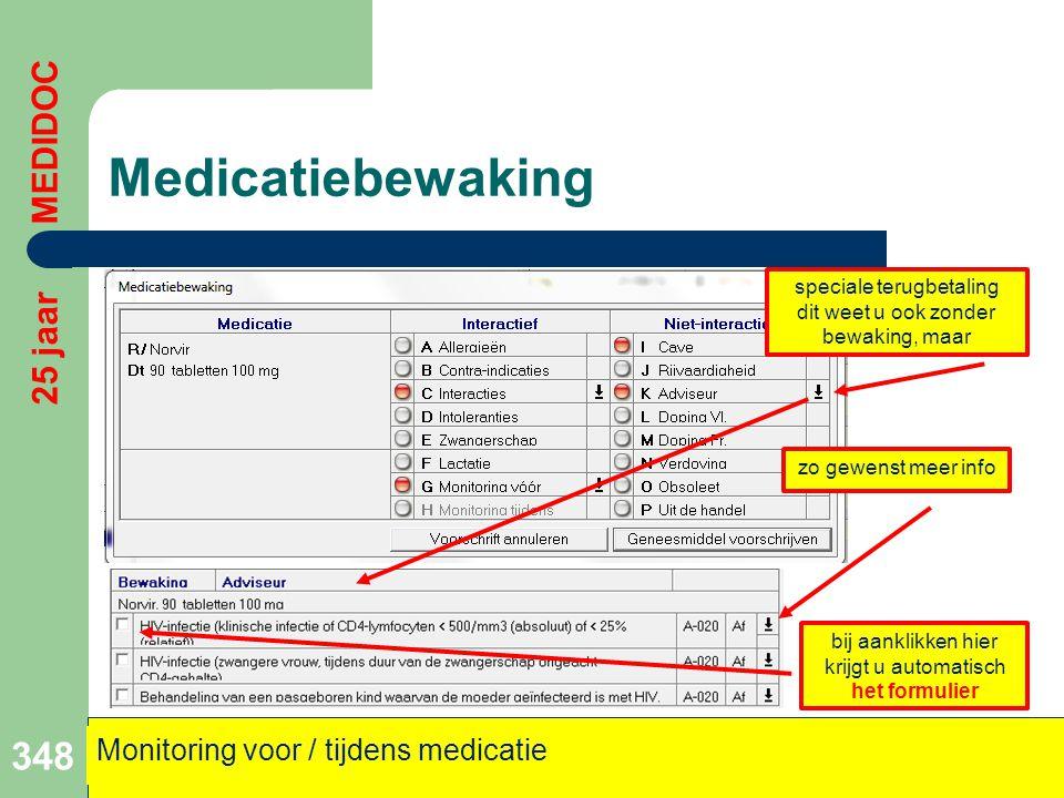 Medicatiebewaking 348 25 jaar MEDIDOC Monitoring voor / tijdens medicatie speciale terugbetaling dit weet u ook zonder bewaking, maar zo gewenst meer