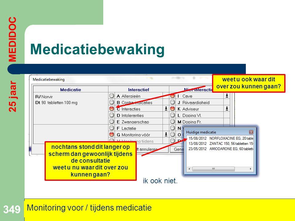 Medicatiebewaking 349 25 jaar MEDIDOC Monitoring voor / tijdens medicatie weet u ook waar dit over zou kunnen gaan? nochtans stond dit langer op scher