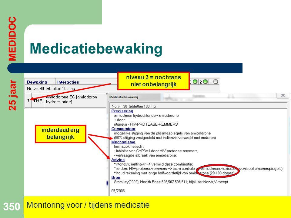 Medicatiebewaking 350 25 jaar MEDIDOC Monitoring voor / tijdens medicatie niveau 3 = nochtans niet onbelangrijk inderdaad erg belangrijk