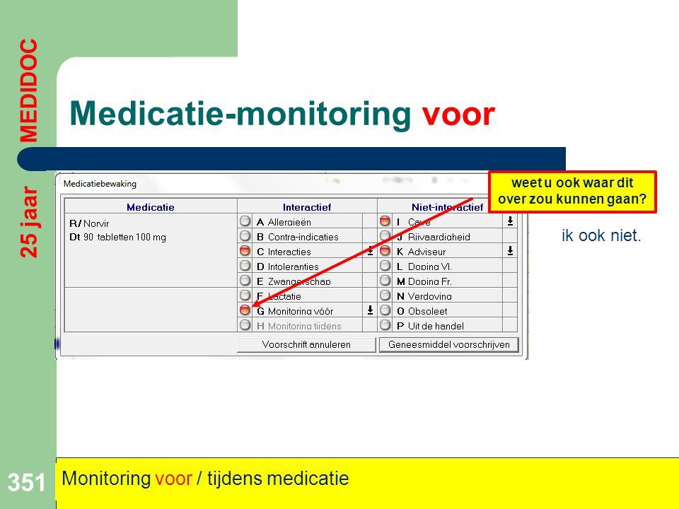 Medicatie-monitoring voor 351 25 jaar MEDIDOC Monitoring voor / tijdens medicatie weet u ook waar dit over zou kunnen gaan? ik ook niet.
