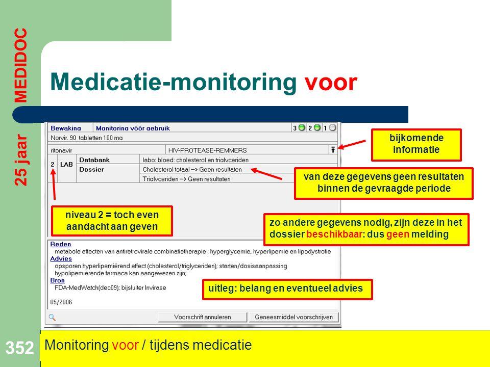 Medicatie-monitoring voor 352 25 jaar MEDIDOC Monitoring voor / tijdens medicatie niveau 2 = toch even aandacht aan geven van deze gegevens geen resul