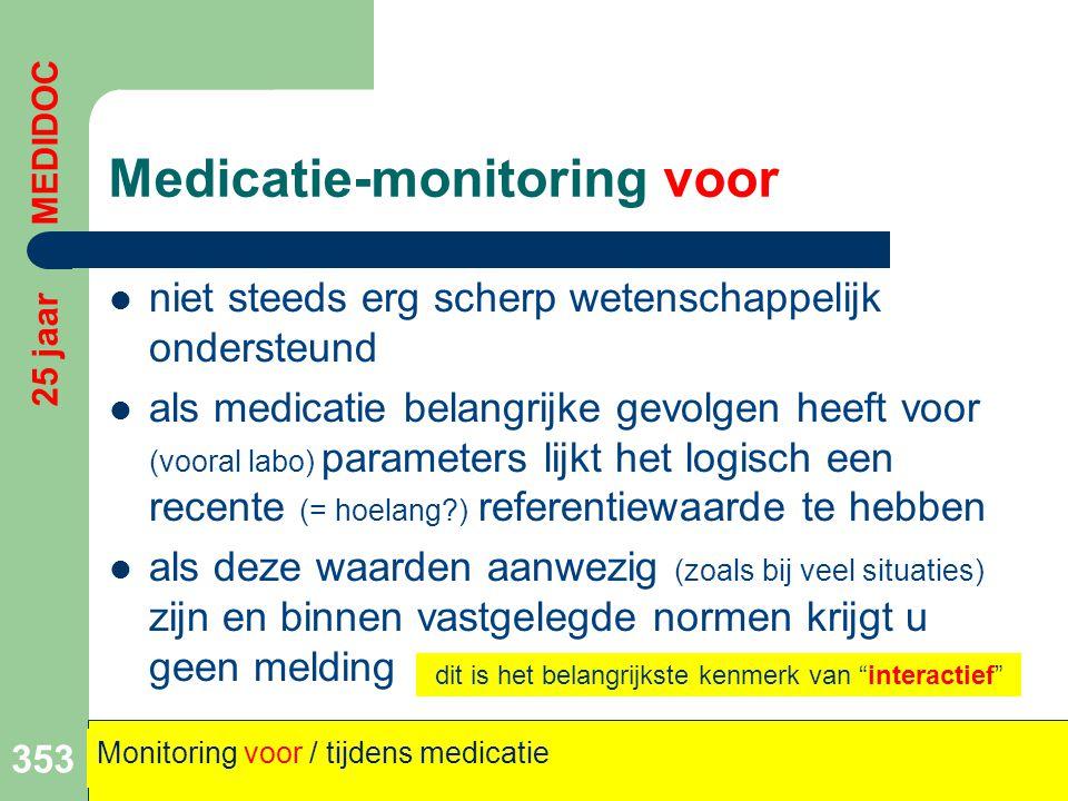 Medicatie-monitoring voor  niet steeds erg scherp wetenschappelijk ondersteund  als medicatie belangrijke gevolgen heeft voor (vooral labo) paramete