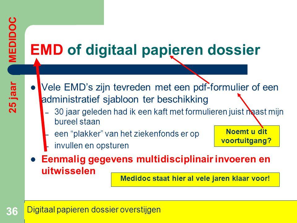 EMD of digitaal papieren dossier  Vele EMD's zijn tevreden met een pdf-formulier of een administratief sjabloon ter beschikking – 30 jaar geleden had
