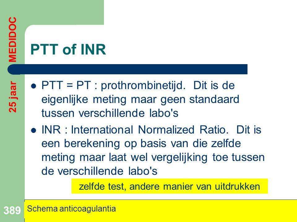 PTT of INR  PTT = PT : prothrombinetijd. Dit is de eigenlijke meting maar geen standaard tussen verschillende labo's  INR : International Normalized